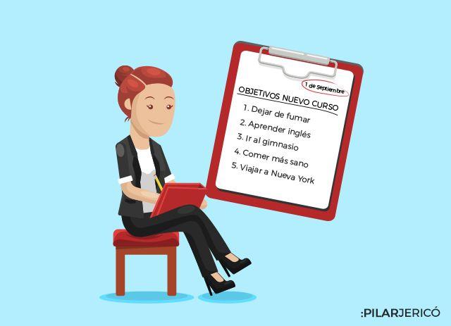Ilustración de una mujer escribiendo lista de tareas para la sección Escúchame
